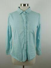 J Crew Womens Cotton LS Button Up Light Blue Green Polka Dot Blouse Shirt Size 6