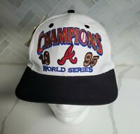 Vintage RARE Atlanta Braves With Tags Hat 1995 World Series Champions Logo 7 MLB