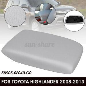 Gray For 2008-2013 Toyota Highlander PU Leather Center Console Lid Armrest  /
