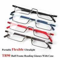 with Case TR90 Reader Eyeglasses Semi Rimless Reading Glasses Half Frame
