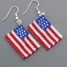 4th of July American Flag Patriotic Seed Beads Earrings Made in the USA