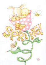 Spring! Tulip Chick Bunny Bee-Handcrafted Fridge Magnet-W/Mary Engelbreit art