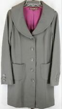 Bandolino Women Ladies Gray Full Length Wool Button-Up Trench Peacoat Size M