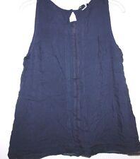 Gap NWT Women's M Navy Blue Sleeveless Rayon Pullover Blouse w/ Crochet Lace