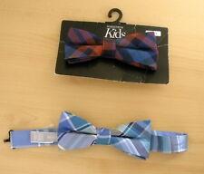 8f99124b24e2 NWT Lot of 2 Nordstrom Kids Boys Bow Tie Blue Brown Plaid 100% Silk Ties