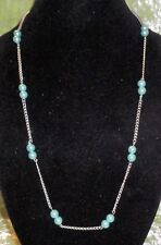 NECKLACE WITH BLUE PEARL BEADS