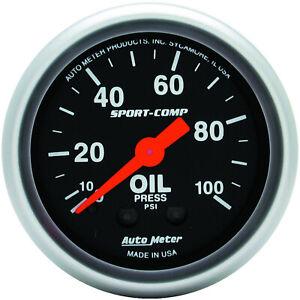 Autometer AMT-3321 Gauge, Sport-Comp, Oil Pressure, 2 1/16 in., 100psi, Mechanic