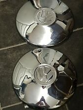 PAIR (2) Classic VW Beetle Chrome Hub Caps. 10 Inch Diameter