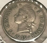 1939 Dominican Republic 5 Centavos - Tough Key Date - 200,000 Minted