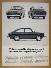 1966 VW Volkswagen Fastback front rear & side view photos vintage print Ad