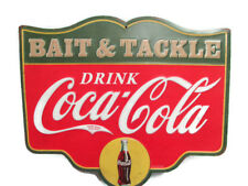Coca-Cola Bait and Tackle Tin Tacker Sign Green - BRAND NEW