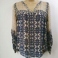 Lucky Brand Women Small Beige With Navy Aztec Boho Shirt Top Sheer 3/4 Sleeve B3
