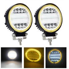 2pcs Round 48W LED Work Lights Bar Fog Driving Light with Amber Angel Eyes Halo