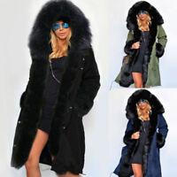 Cappotto con cappuccio Donna Le signore Giacca lunga Parka Foderato pelliccia