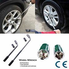 Extendable Lug Wheel Nut Wrench With Reversible Drive Sockets 17/19mm & 21/23mm