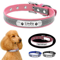 Small Dog Collar Personalised Pet Puppy Reflective Collars Engraved Name Number