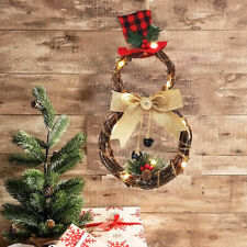 Christmas Wreath With Battery Power LED Lights String Front Door Hanging Garland