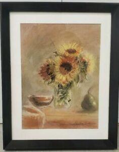 Original Pastel Painting Of Sunflowers Still Life Signed