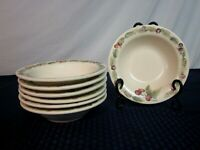 Set of 7 Pfaltzgraff Rimmed Soup Bowls. Jamberry. 2000-06. Perfect.