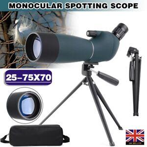 Zoom 25-75x70 Monocular Telescope Tripod Spotting Scope Bird Watching Gift UK