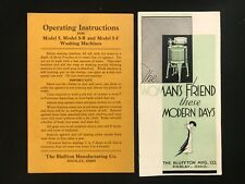 BLUFFTON Manufacturing Women's Friend  WASHING MACHINE brochure instructions