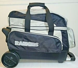 NFL Raiders Dual Bowling Roller Bag - 2 Bowling Balls Holder