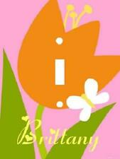 PERSONALIZED BRIGHT ORANGE TULIP FLOWER BUTTERFLY LIGHT SWITCH PLATE COVER
