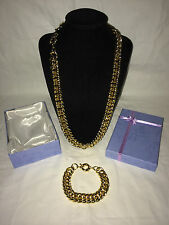 18K Yellow Gold Filled Link Necklace & Bracelet Set & Box Christmas Party Gift