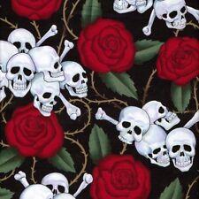 RPFAHW52 Skull Rose Thorn Grateful Dead Biker Alexander Henry Cotton Fabric