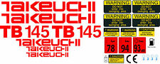 TAKEUCHI TB145 MINI BAGGER KOMPLETTE AUFKLEBER SATZ MIT SICHERHEIT-WARNZEICHEN