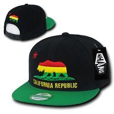 California Republic Red / Yellow / Green Rasta Bear Snapback Snap Back Cap Hat