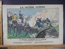 Rare Antique Original VTG WW1 La Défaite Allemande De La Wartha Litho Art Print