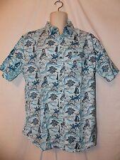 mens phat farm hawaiian tropical button front s/s shirt L nwt blue south pacific