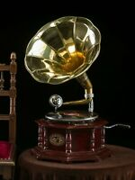 Gramophone With Brass Horn ~ Record Player - 78 rpm vinyl phonograph Octagonal