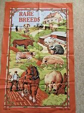 NEW COTTON TEA TOWEL depicting RARE BREEDS of Sheep, Cattle, Pigs, Horse