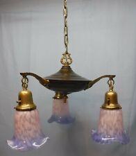 Vtg Arts And Crafts Brass & Brown Pan 3 Light Fixture Pink Blue Glass Shades