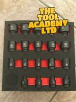 Britool 6mm - 24mm Air Impact Sockets Stress Relief Drive System in Foam Holder