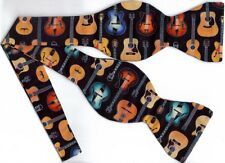 (1) Guitar Self-tie Bow tie - Beautiful Acoustic Guitars on Black - Great gift!