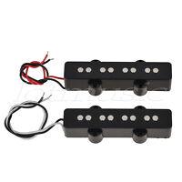 Pair of 4 String Jazz Bass Pickups Bridge Neck Pickup Set Black Open Style