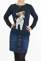 Ladies Supersoft Navy Blue Dog Intarsia Knit Jumper Womens Fun Pullover Gift