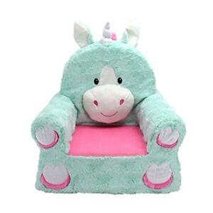 Kids Unicorn Chair Teal Plush Animal Toddler Baby Lounge Girl Gift Furniture New