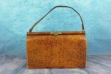 Vintage 1950s Genuine Crocodile Alligator Skin Large Box Handbag Bag