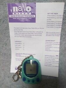 Green Nano Kitty Cat Giga Pets Virtual Pet Tamagotchi Playmates 1997 Tested