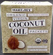 Trader Joe's ORGANIC VIRGIN COCONUT OIL PACKETS Cold Pressed Unrefined 2018 🌺