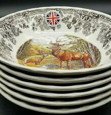 """New Set Of 6 """"Queens Majestic Beauty"""" Thanksgiving Buck Deer 9"""" Large Bowls"""