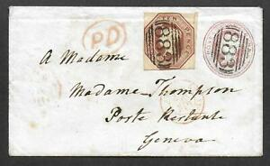Rare 1848 10d brown embossed issue on 1d pink cover from Wincanton to Geneva.