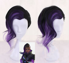 Game Overwatch OW Sombra Carnival Purple Mix Cosplay wig