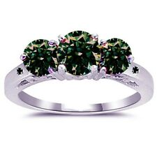 3.10 ct SI1 DARK GREEN REAL MOISSANITE & NATURAL BLACK DIAMOND .925 SILVER RING