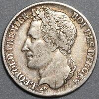 1844 Belgium 1 Franc VF Leopold I Victoria's Uncle Scarce Silver Coin (20021101R