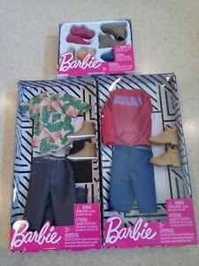 2 Barbie Ken Fashion Shirt & Pants Clothing Pack And Shoe Pack